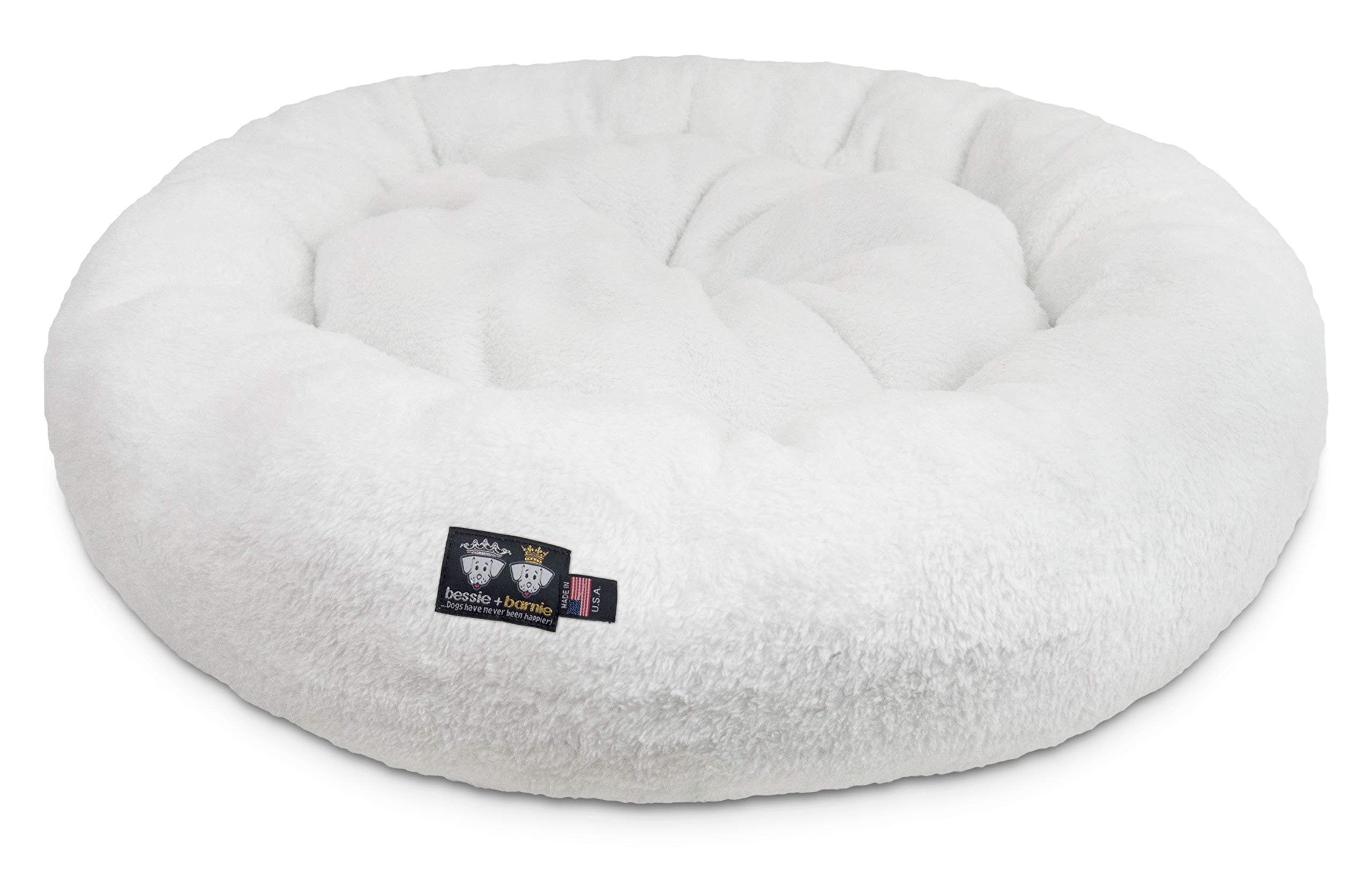 BESSIE AND BARNIE Ultra Plush Deluxe Comfort Pet Dog & Cat White Snuggle Bed (Multiple Sizes) - Machine Washable, Made in The USA, Reversible, Durable Soft Fabrics by BESSIE AND BARNIE (Image #1)