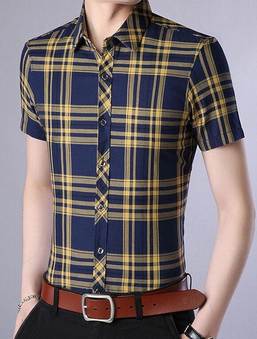 YUELANDE-Men Casual Short Sleeve Plaid Checked Button Down Slim Fit Shirt Top