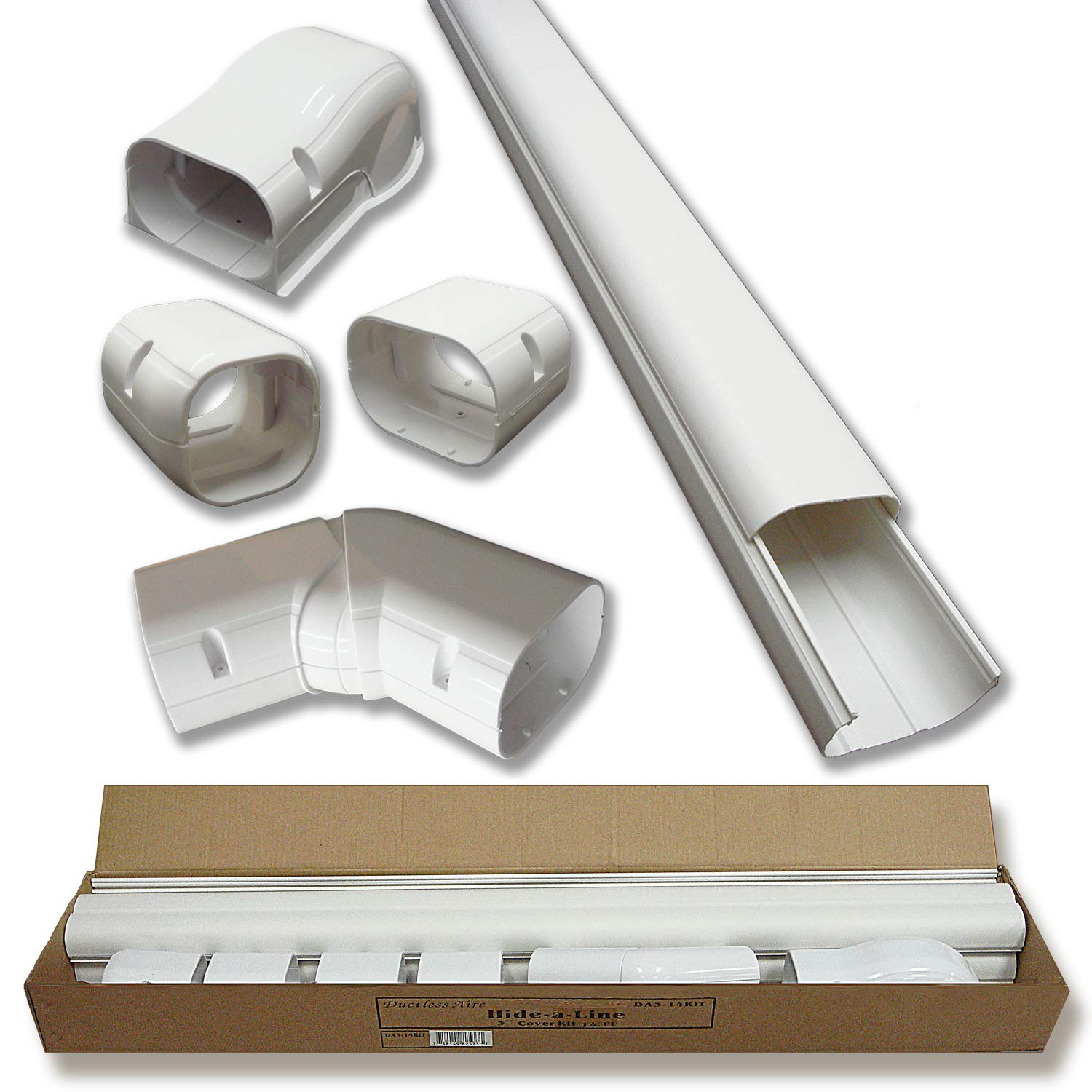 Hide-A-Line 4'' 14 Ft Mini split and Central Air Conditioner & Heat Pump Line Set Cover Kit Decorative Tubing Cover