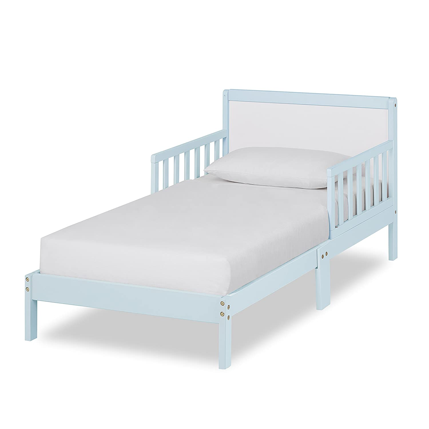 Dream On Me Brookside Toddler Bed, Sky Blue/White