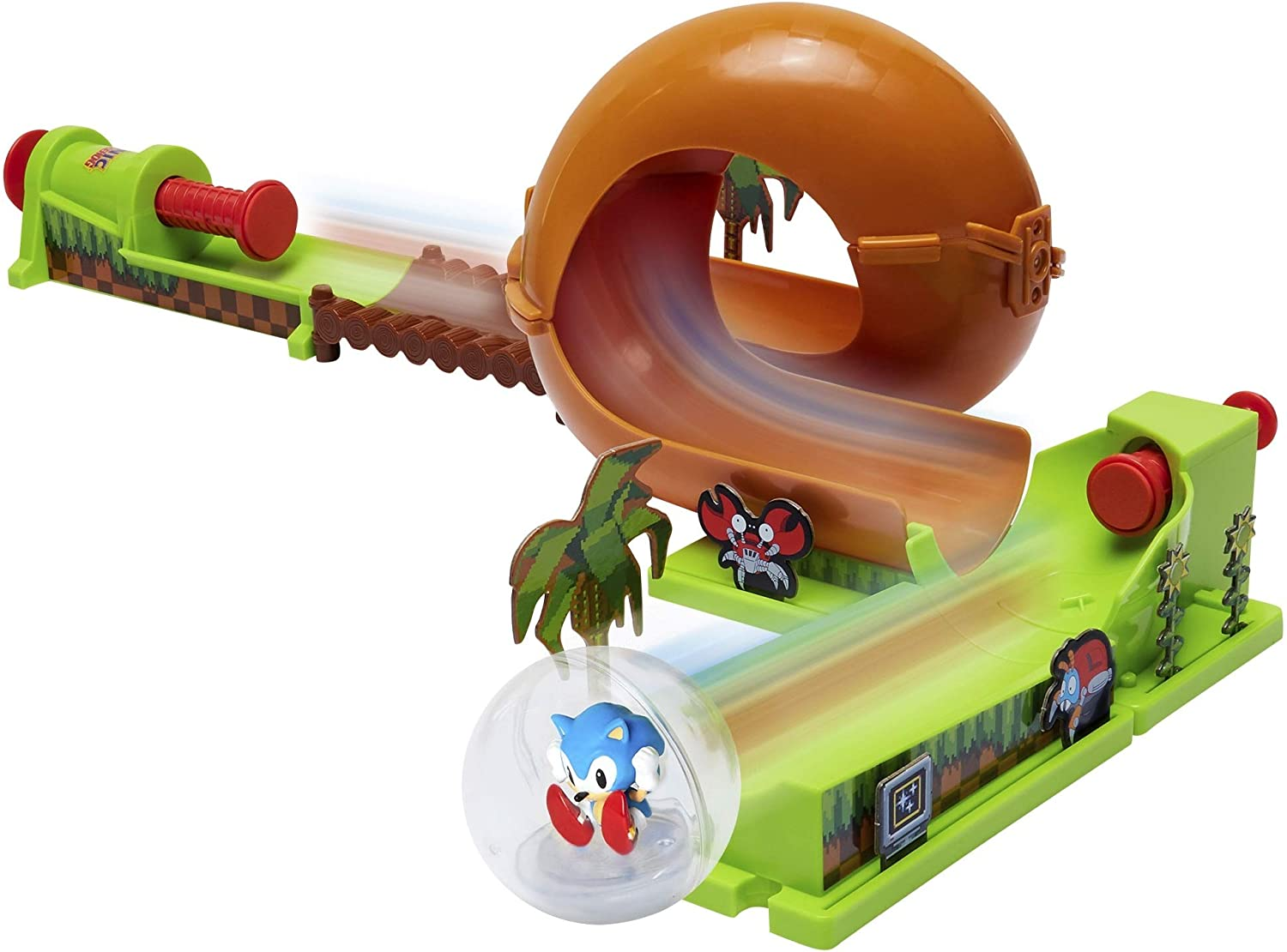 Amazon Com Sonic The Hedgehog Pinball Green Hill Zone Pinball Track Play Set 9 Piece With Looping Action Automatic Bumper Exclusive Sonic Sphere Included For Ages 3 Toys Games