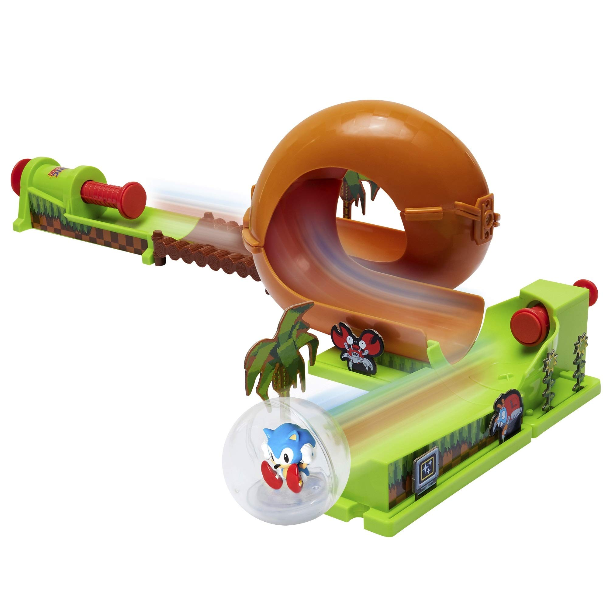 Sonic The Hedgehog Pinball Green Hill Zone Pinball Track Play Set, 9 Piece, with Looping Action & Automatic Bumper Exclusive Sonic Sphere Included, for Ages 3+