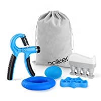 Handtrainer Fingertrainer Set, Apiker Hand Fingertrainer, Hand Grip Trainer Strengthener mit Handtrainer Griffbälle, Finger Stretcher, handmuskeltrainer, handtrainer ring, Hand Trainingsgerät, Massagegerät, Ergonomischer Hand Trainingsgerät für Anfänger zu verwenden(5-60KG)