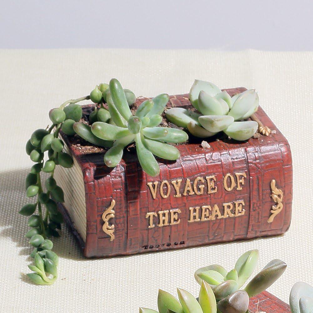 YOURNELO Creative Book Resin Flower Plant Pots Succulent Planters Vase