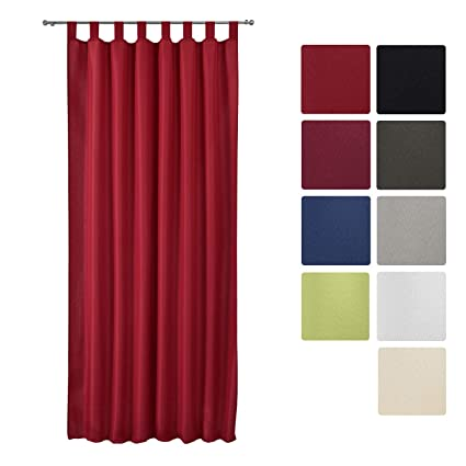 Beautissu Rideau Opaque à Passant Amelie Voilage Uni à Pattes 140x175 Cm Décoration Intérieur Rouge