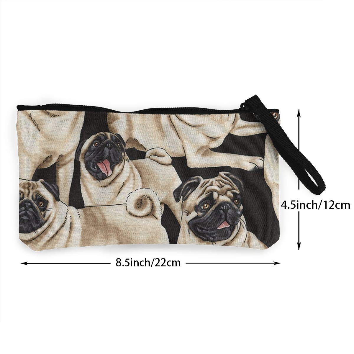 Make Up Bag DH14hjsdDEE Cute Funny Pugs Dog Zipper Canvas Coin Purse Wallet Cellphone Bag With Handle