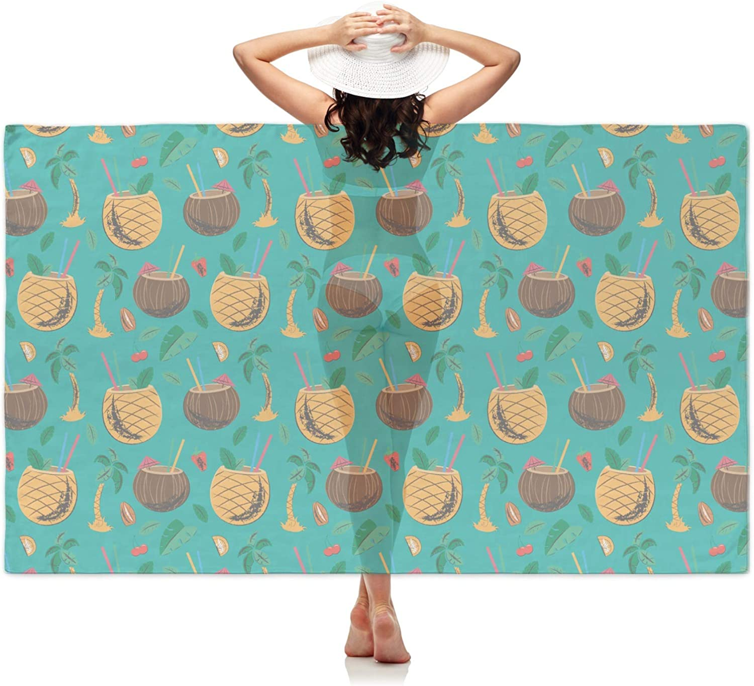 Blue YouCustomizeIt Coconut Drinks Sheer Sarong Personalized