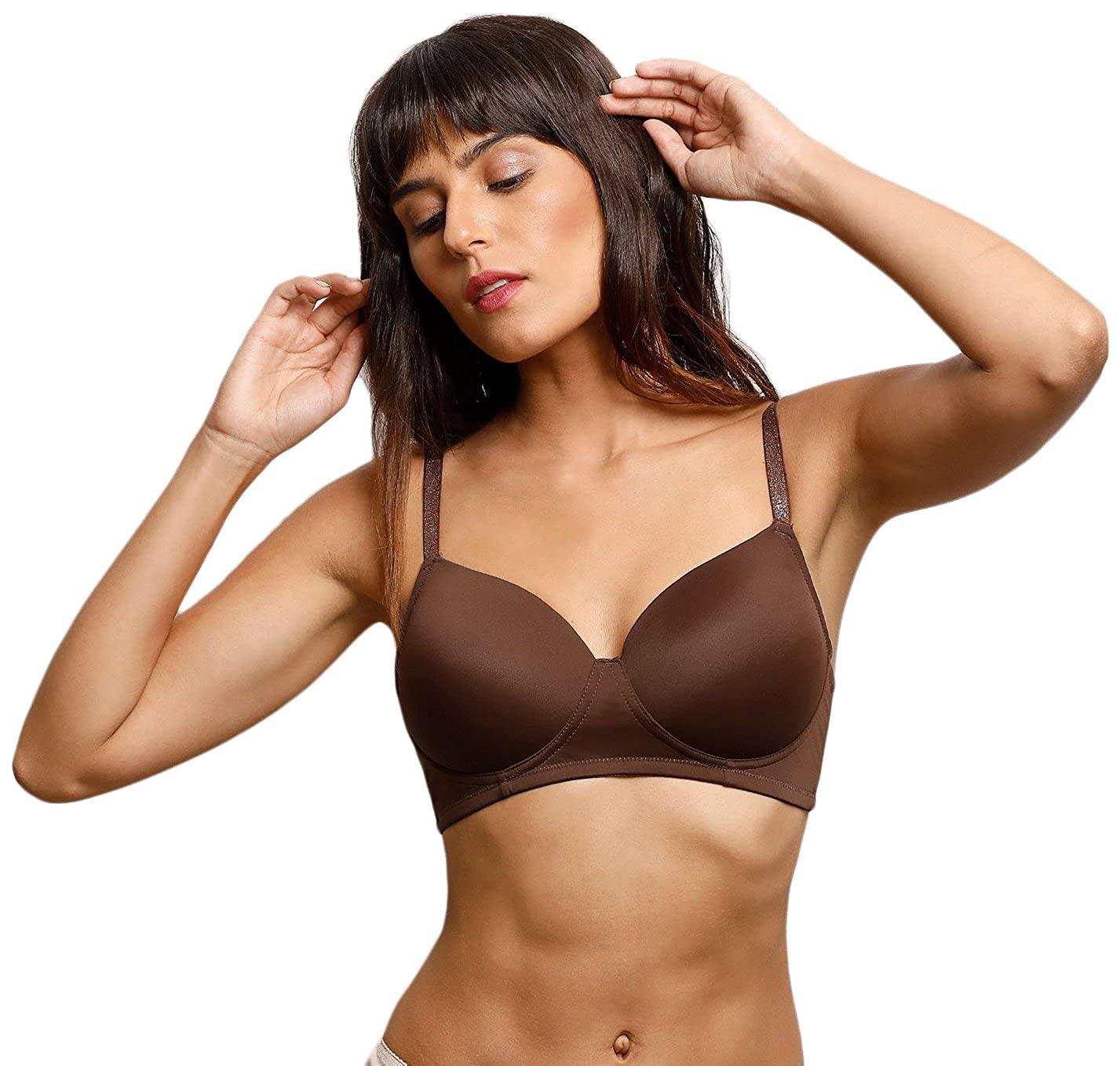 b20f829c6 Zivame Glitter Straps Radiance Smooth Padded T-Shirt Bra- Brown  Amazon.in   Clothing   Accessories