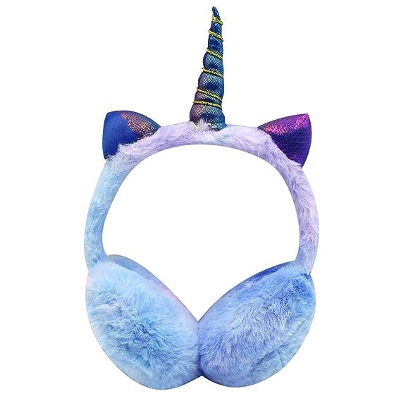 Little Girls Fluffy Plush Unicorn Ear Muffs Cute Winter Ear Warmer with Holoram Cat Ears