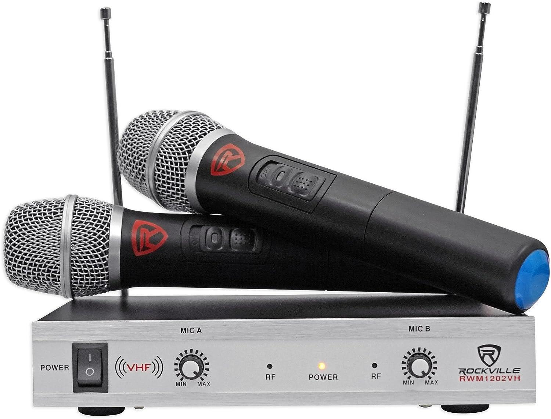Rockville RWM1202VH VHF Wireless Dual HandHeld Microphone System,Metal Receiver