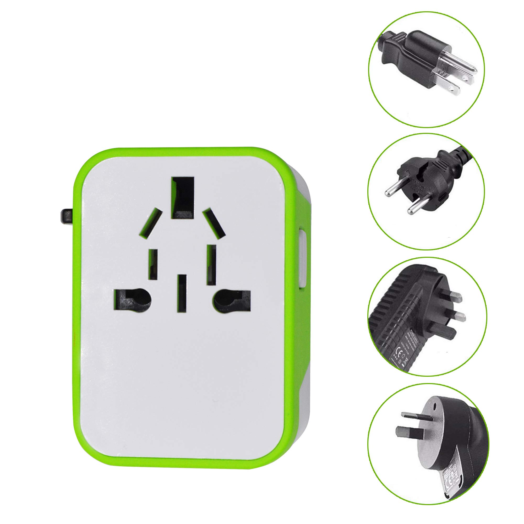 Universal Travel Adapter with Quad USB Charger - All-in-One Surge/Spike Protected Electrical Plug with Fast Charging USB Ports, International Power Socket works in 192 Countries - 4XUSB