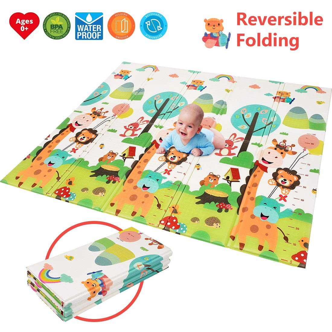"""【Easy to Clean Fold Up】BPA Free Non-Toxic Foam Folding Playmat 79/"""" x 71 0.6 Thick Extra Large Reversible Crawling Mat Portable Toddlers Kids Waterproof Non-Slip Activity Tummy Time Baby Play Mat"""