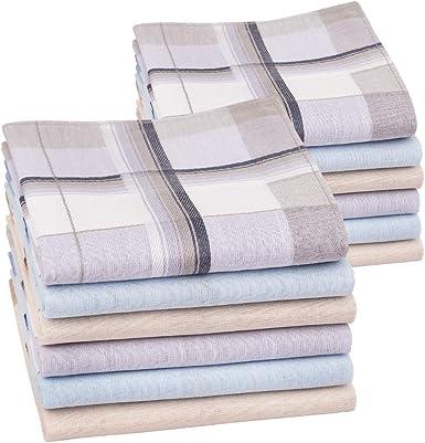 Houlife Classic 100/% 60S Cotton Mens Stripe Checkered Pattern Handkerchiefs Assorted Soft Plaid Hankies 17x17