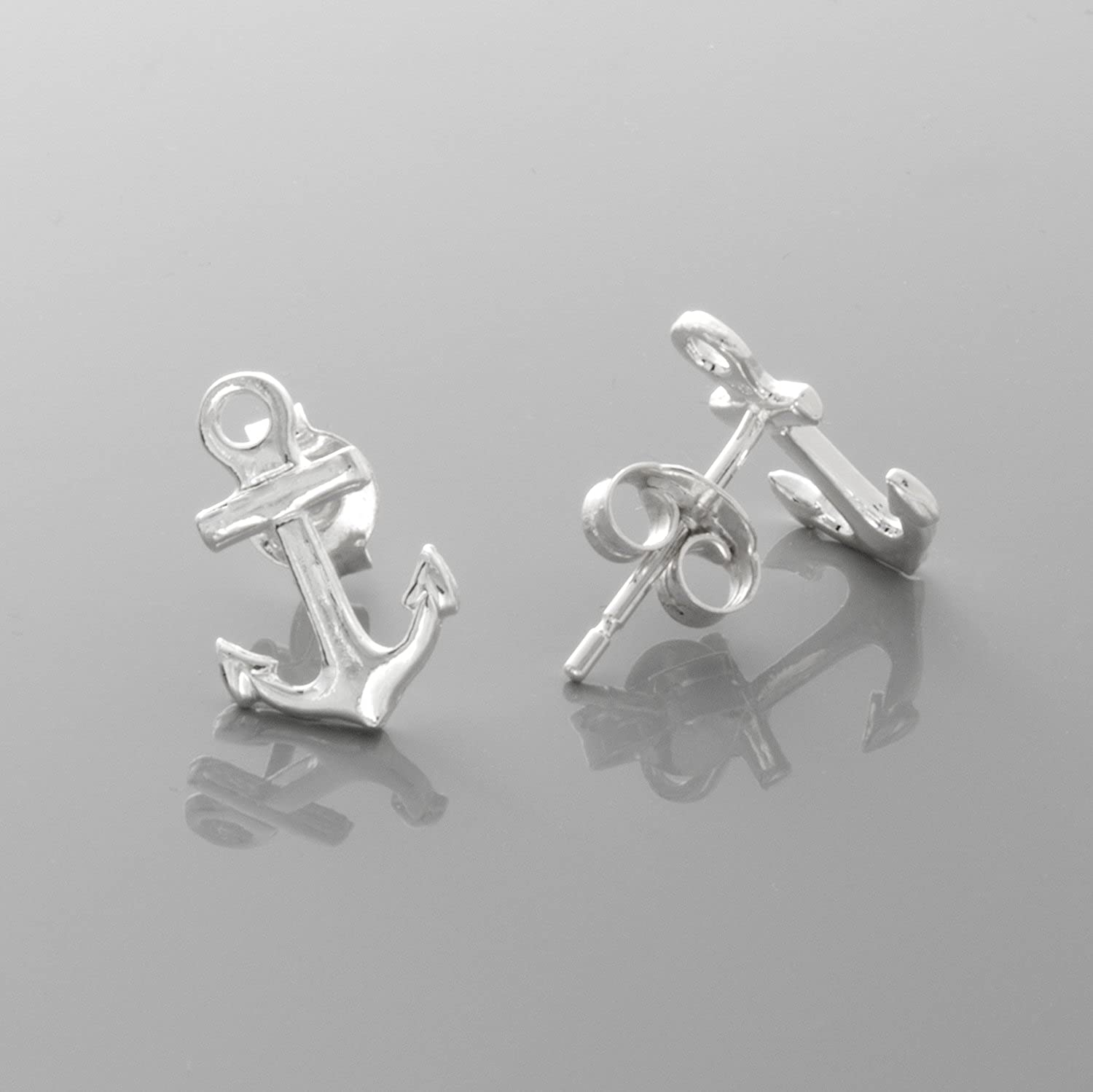 2-D /& High Polish 925 Sterling Silver Nautical Mini Anchor Post Earrings