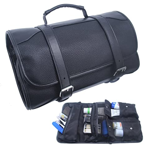 Amazon.com : Samtour Hanging Toiletry Bag for Men Leather Travel Shaving Dopp Kit Organizer with Portable Travel Kit Organizer Case Waterproof Leak Proof ...