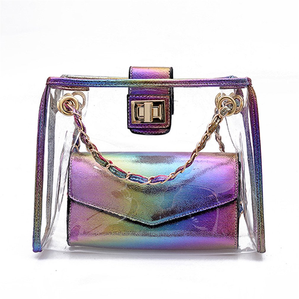 ANANXILA Fashion Transparent Women Shoulder Bag Summer Beach Composite Bag Messenger Bags Purple 25x21x9cm
