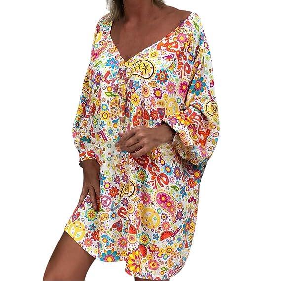 87dfbd46967c Btruely Vestidos Cortos Mujer Verano, Vestidos de Tallas Grandes Mujer  Vestido Fuera del Hombro Estampado Floral Vestido Manga Larga Irregular  Vestido ...