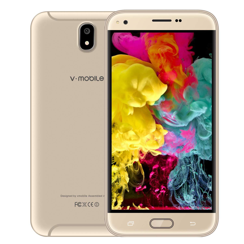 Teléfono Móvil,Smartphone de 5.5 Pulgadas 16GB ROM Smartphone Dual Sim HD+ 1440*720 Pixeles Cámara de 5MP 3G+ V Mobile J5 Pro(16GB ROM+1GB RAM, Oro)