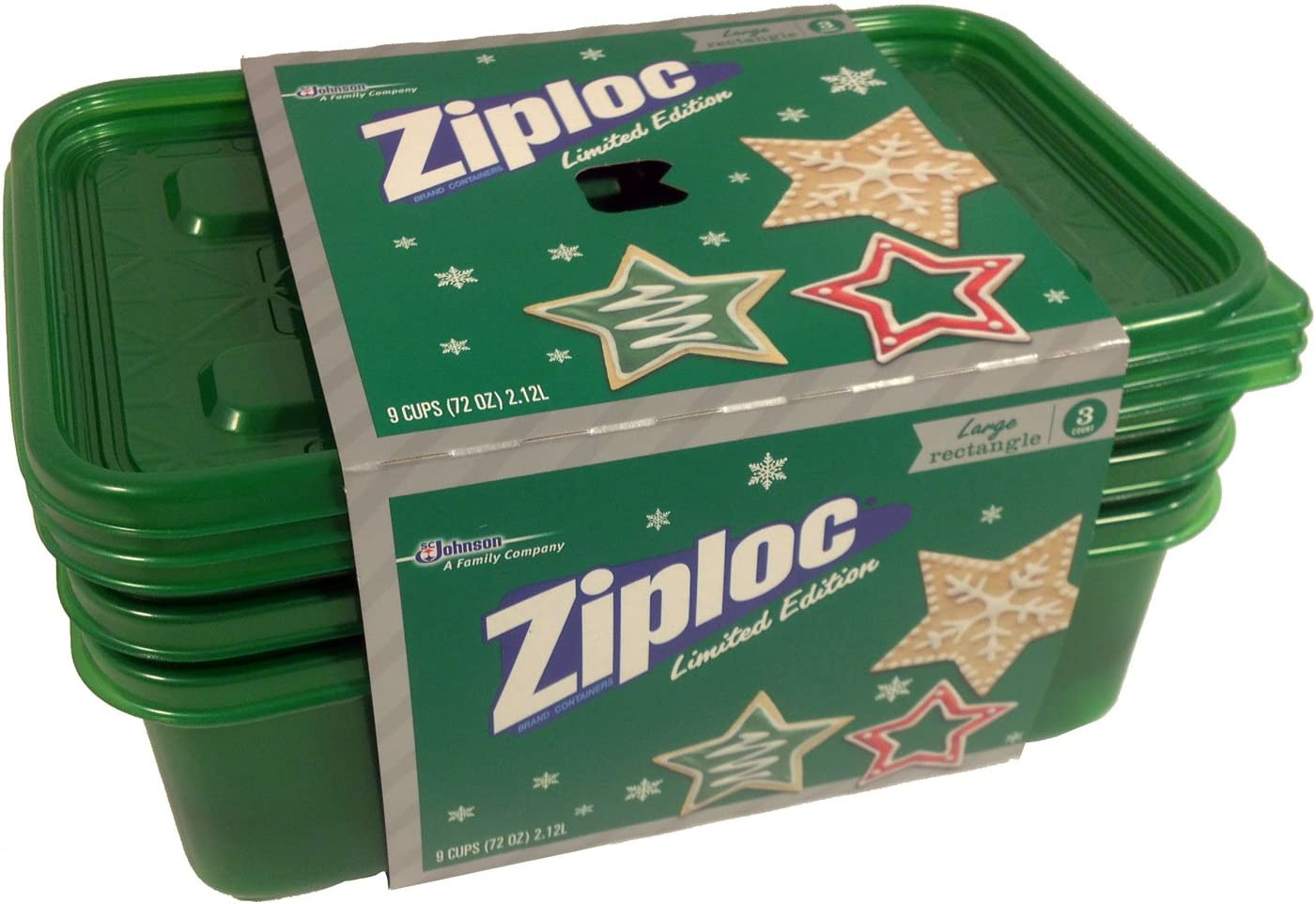 Ziploc Limited Edition Holiday Colored Storage Containers with Lids (Large Rectangle, Green)