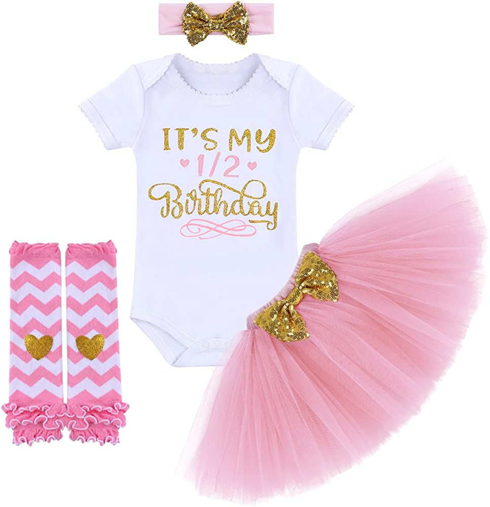 It's My 1/2 / 1st / 2nd Birthday Outfit Baby Girls Romper + Ruffle Tulle Skirt + Sequins Bow Headband + Leg Warmers Socks Party Dress up 4Pcs Photo Cake Smash Clothes Set Pink 6 Months