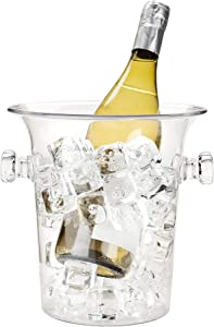 True Ice Bucket Holder Chilling Tub for Indoor and Outdoor Use, 1-Bottle, Clear