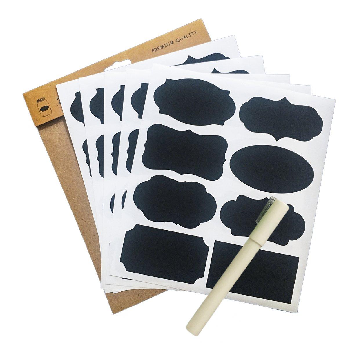 Dooppa 80pcs 10feuilles étanche Tableau noir étiquettes Stickers Blanc avec marqueurs à craie effaçable