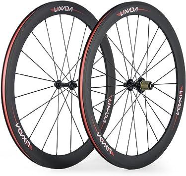 Lixada Ruedas Bicicleta de Fibra de Carbono Completa 50 mm 700C ...