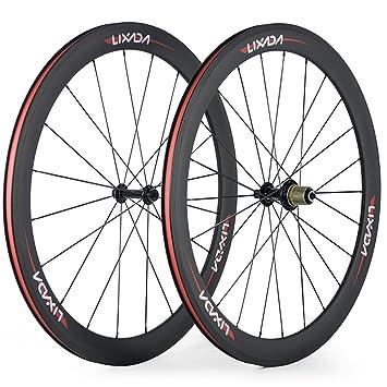 Lixada Ruedas Bicicleta de Fibra de Carbono Completa 50 mm 700C Wheelse 8/9/10/11 Velocidades Compatibles 20/24 Agujeros: Amazon.es: Deportes y aire libre