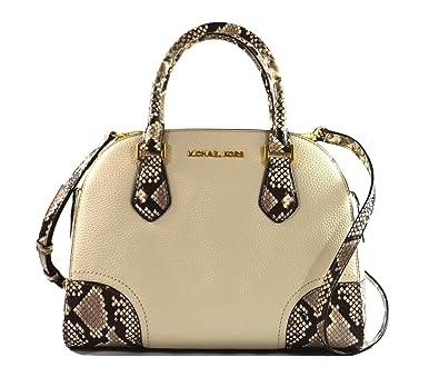 ab55bfbaff0a01 Michael Kors Hattie Satchel Bowling Crossbody Bag Ecru: Handbags: Amazon.com