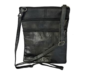 Quenchy London Ladies Handbag in Soft Black Leather 3 Compartments 117 Adustable Long Strap Ideal Travel Holiday Pouch Womens Shoulder Bag can be Worn as Cross Body Bags