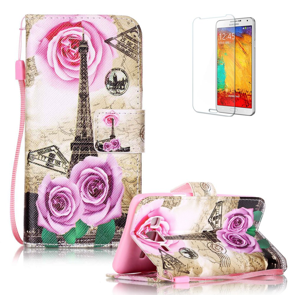 Galaxy On5 Strap Case with Free Screen Protector,Funyye Retro Colourful Print PU Leather Flip Wallet With Stand Case Cover Shell for Galaxy On5 - Rose Tower