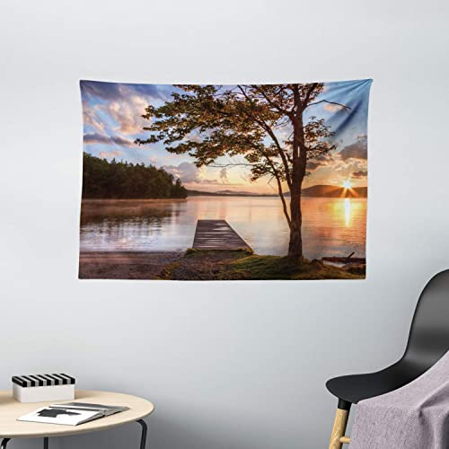Ambesonne Seascape Tapestry, Shore of Seventh Lake Tree Sunbeam at Sunset Water Reflection Tranquility, Wide Wall Hanging for Bedroom Living Room Dorm, 60 X 40 , Brown Peach