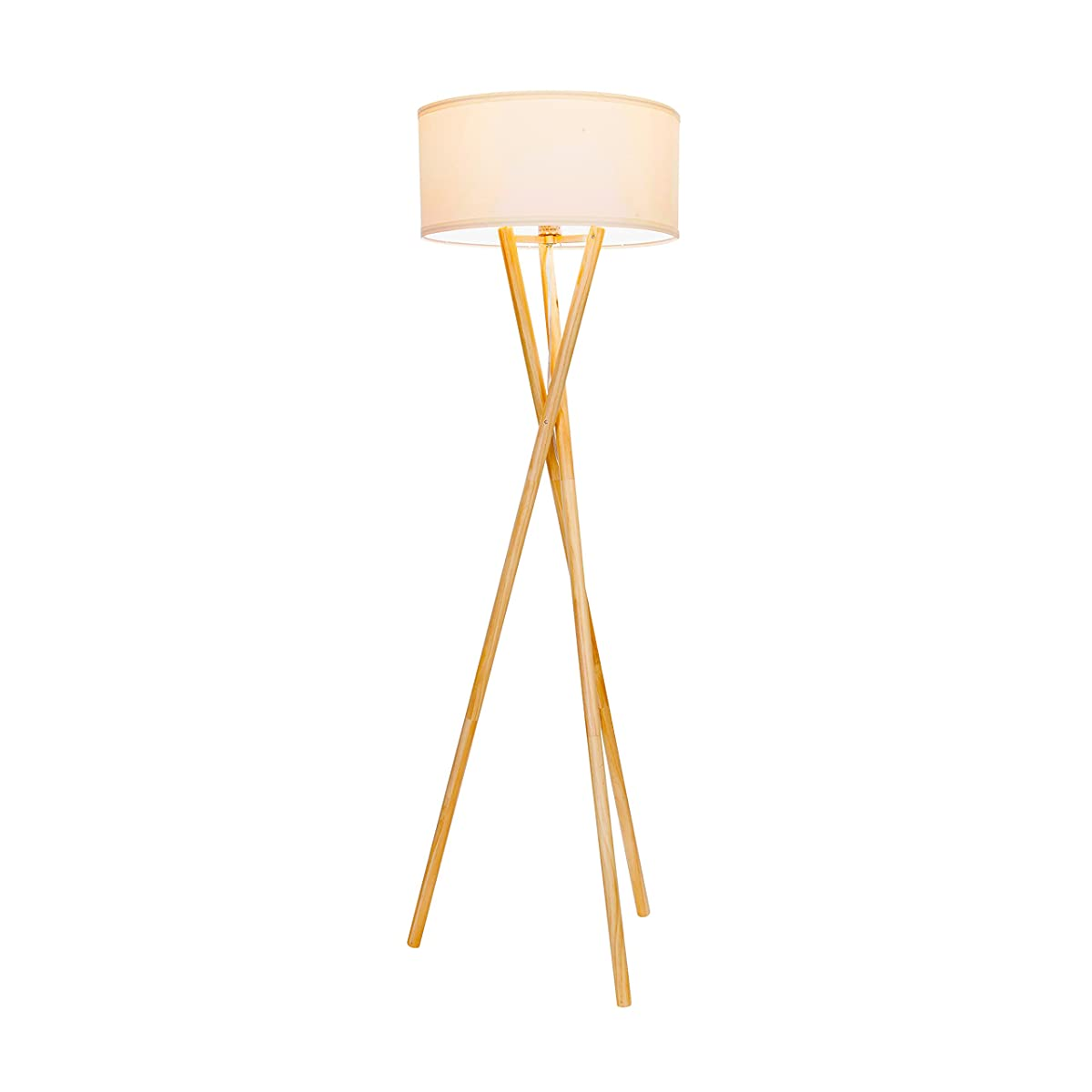 Brightech Harper LED Tripod Floor Lamp – Wood, Mid Century Modern Light for Contemporary Living Rooms - Tall Standing, Rustic Lamp for Bedroom, Office, Kids Room