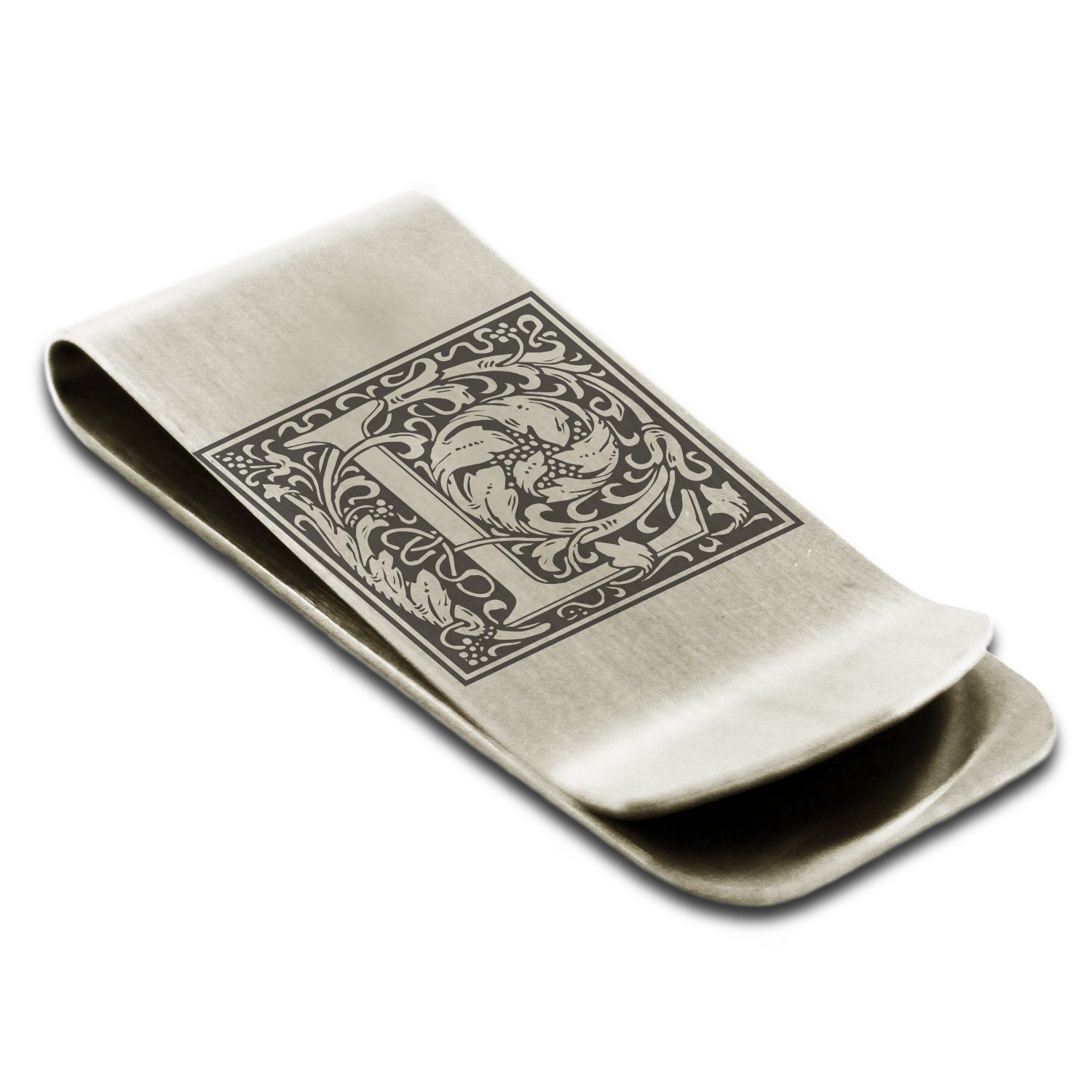 Stainless Steel Letter L Initial Floral Box Monogram Engraved Money Clip Credit Card Holder