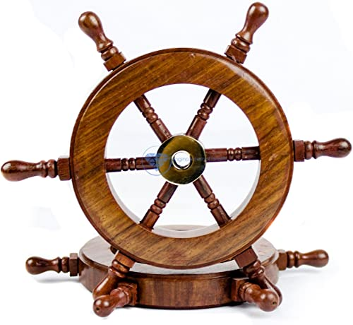 Nagina International Hand Crafted Premium Nautical Wooden Ship Wheel Exclusive Pirate s Wall Decor Ocean Beach Maritime Nursery Decorative Hanging 6 Inches, Natural Wood