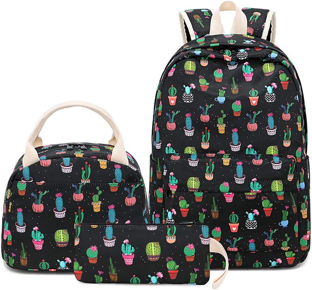 BLUBOON School Backpack Set Teen Girls Bookbags Laptop Backpack Kids Lunch Tote Bag Clutch Purse (Cactus-Black)