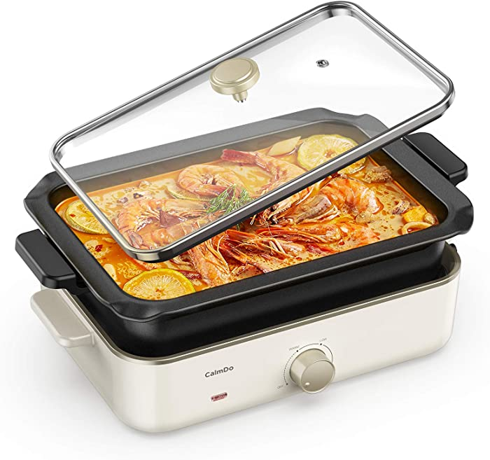 CalmDo Electric Foldaway Skillet Grill Combo, Roast, Fry, Grill and Stew with Nonstick Pan, Precise Temperature Control and Tempered Glass Vented Lid