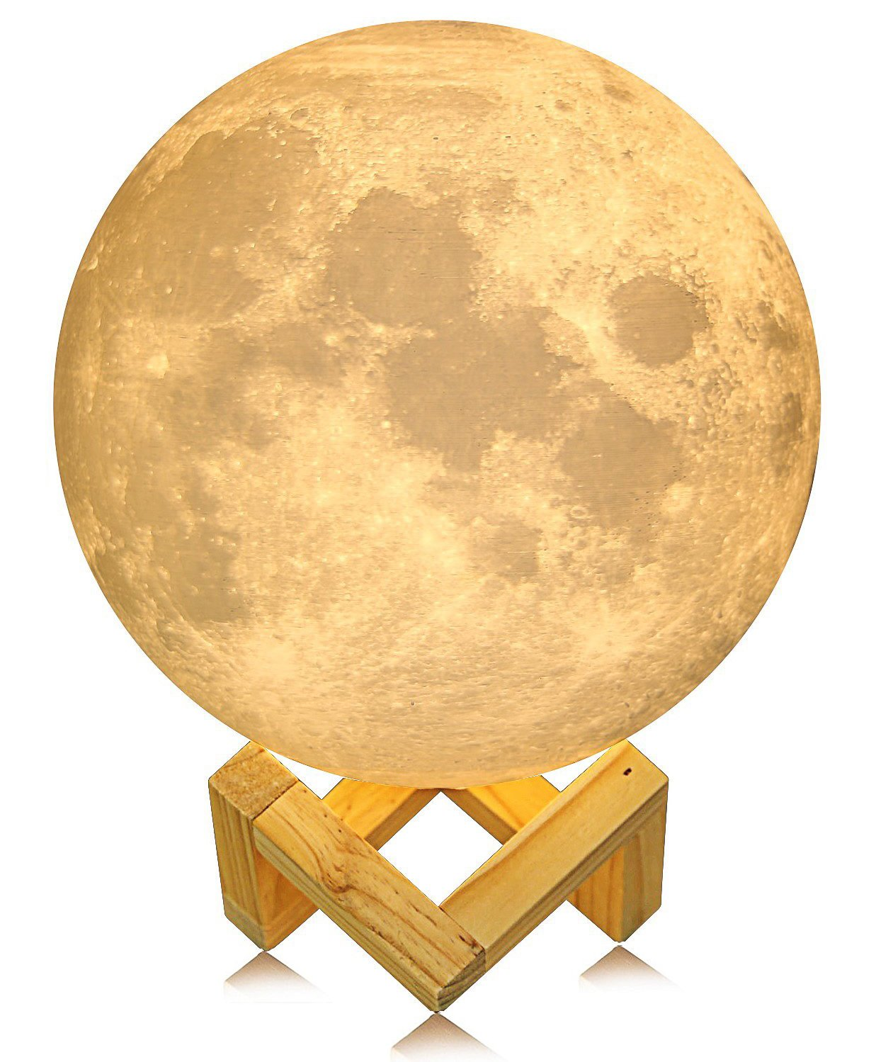 ACED Moon Light, 3D Printing LED Moon Lamp Large, Touch Control, Ajustable Brightness, USB Recharge, Seamless Lunar Moon Night Light Lamp with Stand for Bedrooms, Mother's Day Gift, 7.1Inch by ACED (Image #1)