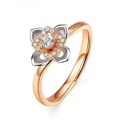 Daesar Bague Mariage 18k Or Rose Bague Femme Bague Fleur Bagues De