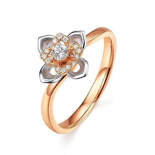 AmDxD Joyería Mujer 18k Oro Anillos de Mano Derecha Flor Rosa Redondo Diamante Oro Rosa Anillo
