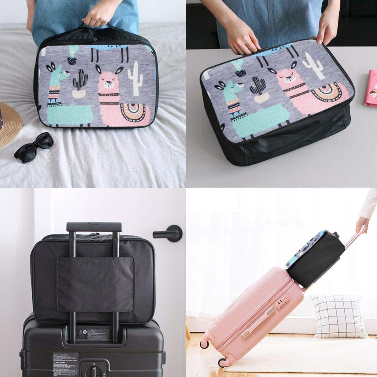 Several Cartoon Llama Travel Lightweight Waterproof Folding Storage Carry Luggage Duffle Tote Bag Large Capacity In Trolley Handle Bags 6x11x15 Inch