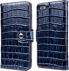 Reginn iPhone 7 Plus Wallet Case, iPhone 8 Plus Wallet Case, Genuine Leather Folio with Card and Cash Pockets and Stand Function, Leather Wallet Case for iPhone 7 Plus and iPhone 8 Plus (Blue)