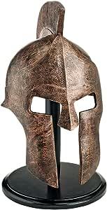 Design Toscano Greek Spartan Helmet Corinthian Armor Statue with Stand, 16 Inch, silver
