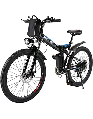 c9de8445a6c ANCHEER Folding Electric Mountain Bike with 26 Inch Wheel, Large Capacity  Lithium-Ion Battery