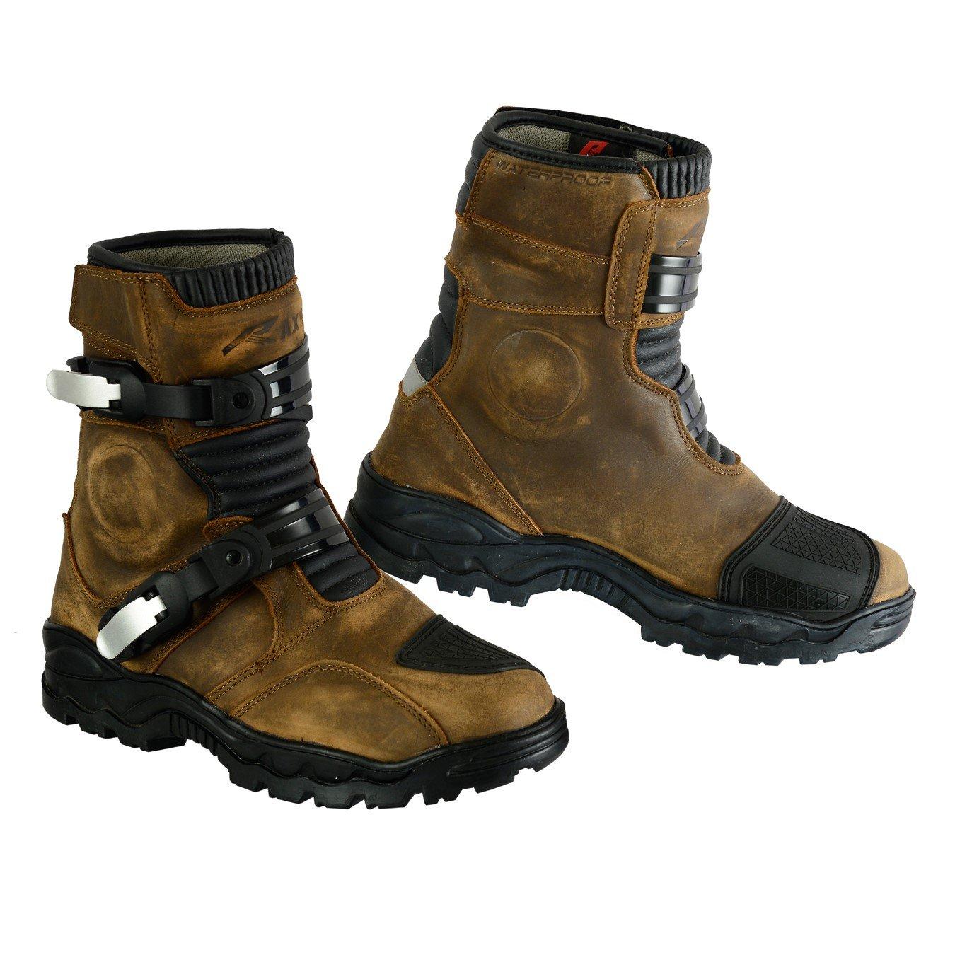 RAXID BASTA Genuine Leather Waterproof Motorbike Adventure Boots Shoes Brown UK-7//US-8//EU-41