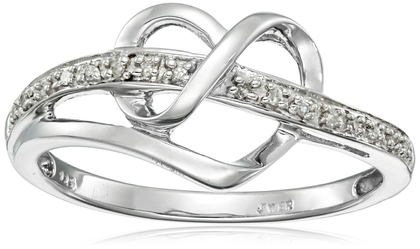 Sterling Silver Diamond Accent Heart Ring, Size 8 by Amazon Collection