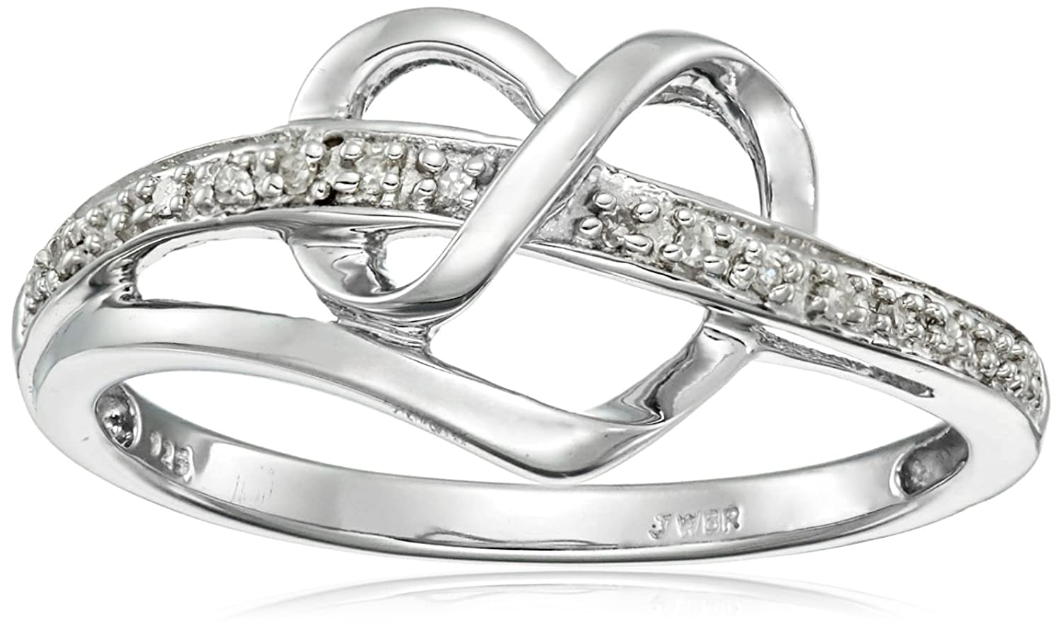 sterling silver diamond heart ring 120 cttw i j color i3 clarity - Wedding Rings Amazon