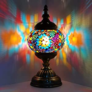Marrakech Turkish Mosaic Glass Decorative Table Lamp for Bedroom, Living Room, Moroccan Lantern Rustic Home Decor Night Light Gifts for Women,Men (Multi-Colored)