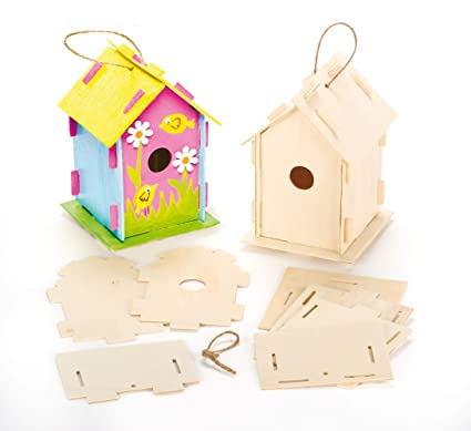 Baker Ross Wooden Birdhouse Kits Pack Of 2 Make Your Own Wood Crafts To Paint And Decorate For Children