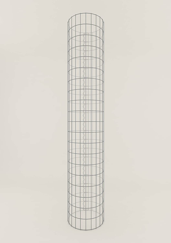 Säule Steinkorb-Gabione rund, Maschenweite 5 x 10 cm, Höhe 200 cm, Spiralverschluss, galvanisch verzinkt (37 cm Durchmesser)